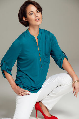 Jersey Overhead Top With Zip Fastening
