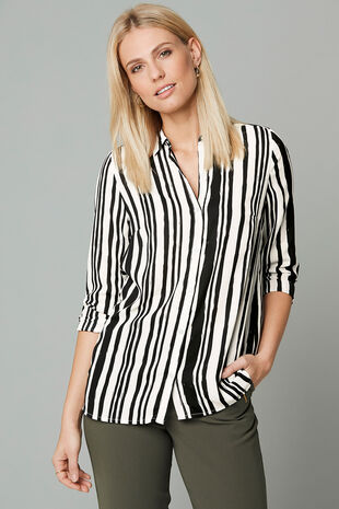 Longline Stripe Print Button Through Shirt