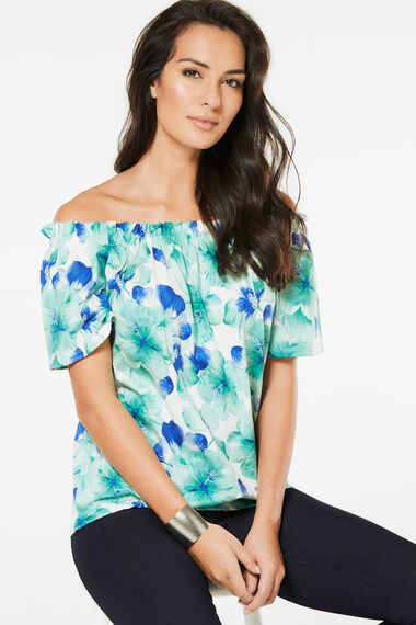 Large Floral Printed Gypsy Top