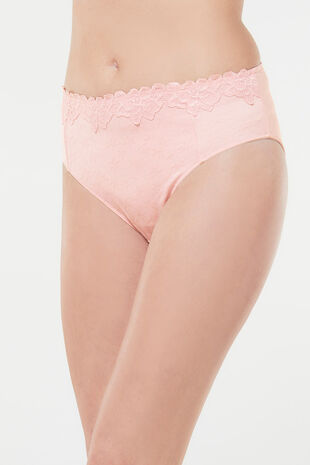 Jaquard High Leg Lace Brief