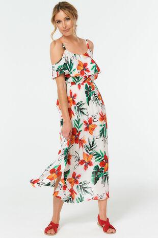 Flower Print Cold Shoulder Maxi Dress