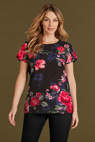 Embroidered Rose Print Shell Top