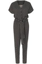 Spot Print Button Front Jumpsuit