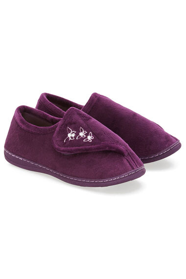 Touch Fasten Embroidered Slipper
