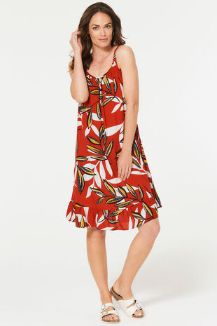 Amazon Leaf Frill Hem Sundress