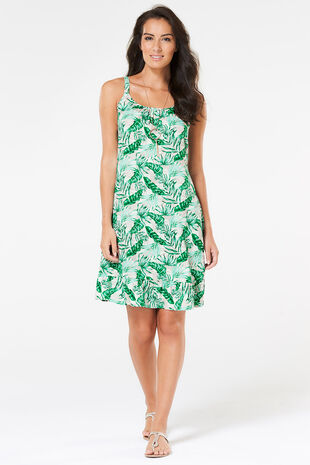 Palm Print Beach Dress with Frill Hem