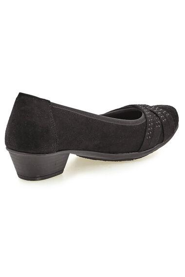Cushion Walk Block Heel Suedette Shoe with Diamante