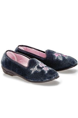 Velour Embroidered Slipper