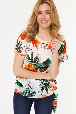 Short Sleeve Burnout Side Tie Top