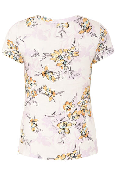 Shadow Floral Print V Neck Top