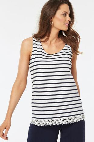 Stripe Lace Hem Vest