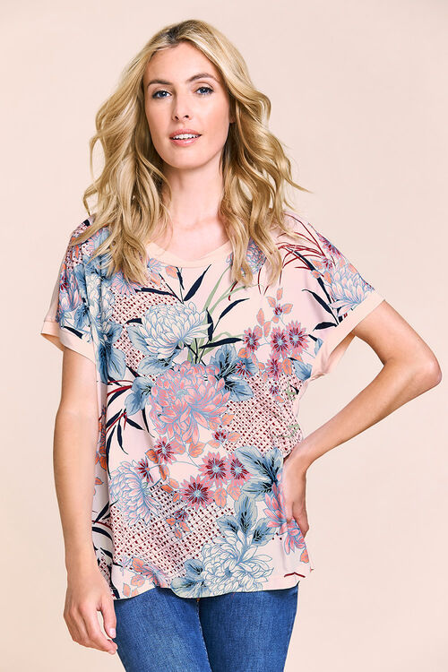 Floral Printed Front Jersey Back Top