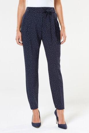 Spot Print Belted Trouser