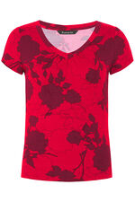 Silhouette Rose Print V Neck Top