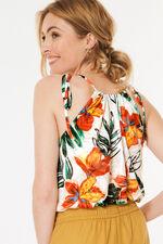 Floral Print Burnout Halter Neck Top