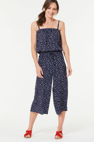 Spot Shirred Jumpsuit
