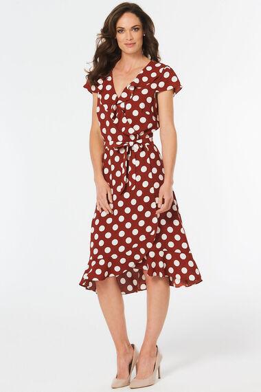 Spot Print Frill Front Dress