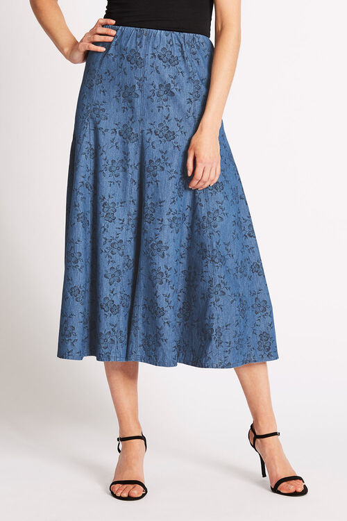 Printed Chambray Skirt