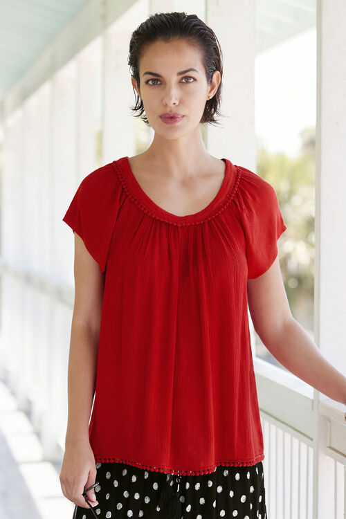 Ball Lace Trim Crinkle Top