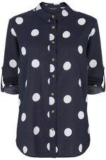 Long Sleeve Spot Print Linen Blend Shirt