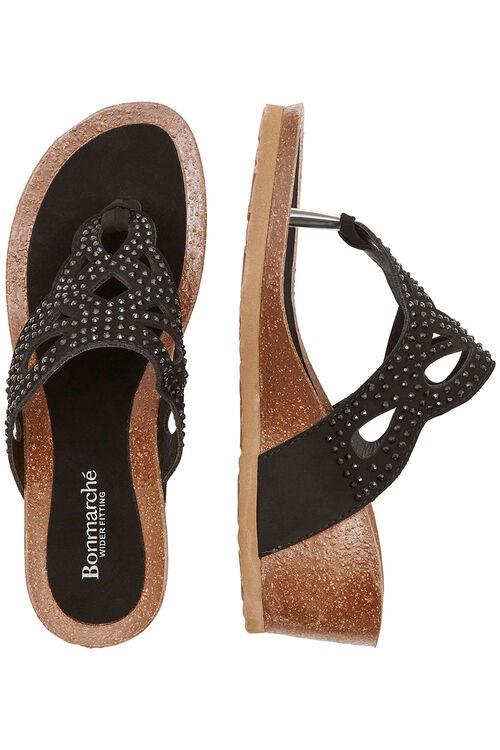 Diamante Detail Wedge Sandals