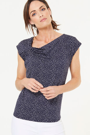 Knot Detail Spot Print Top