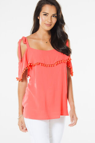 Bardot Top With Pom Pom Detailing