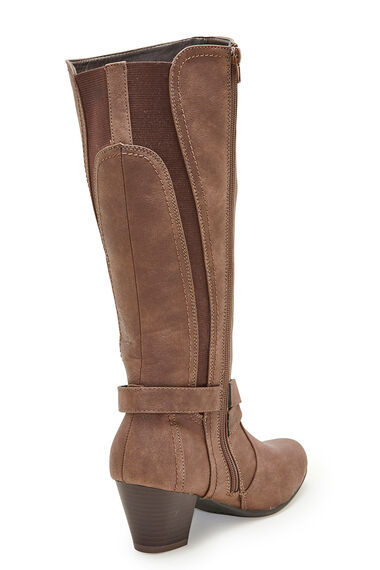Comfort Plus Cross Detail Knee High Boot
