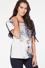Floral Woven Front T-Shirt