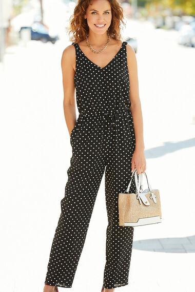 Sleeveless Spot Print Jumpsuit