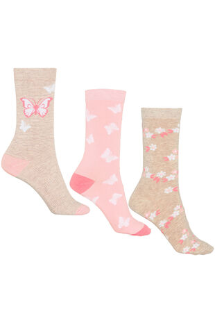 Butterfly Floral 3 Pack Sock