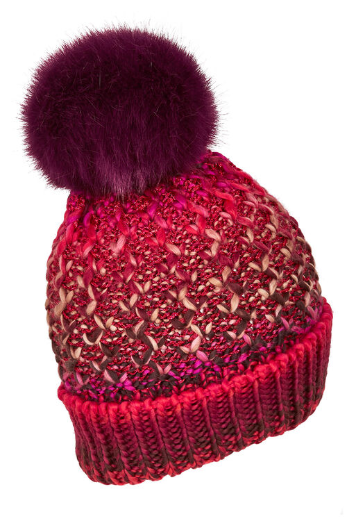 Lurex and Cable Knit Hat with Faux Fur Pom Pom
