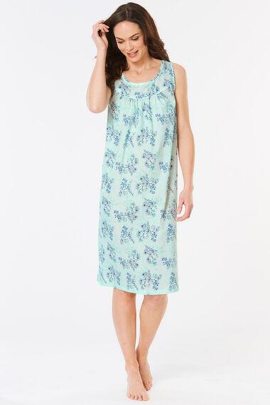Sleeveless Leaf Printed Nightdress