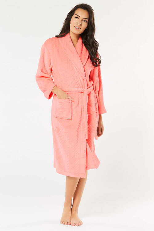 Cable Shawl Collar Dressing Gown