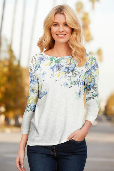 Trailing Floral Boat Neck Top