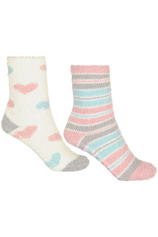 2 Pack Heart and Stripe Cosy Socks