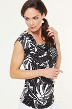 Knot Detail Leaf Print Top