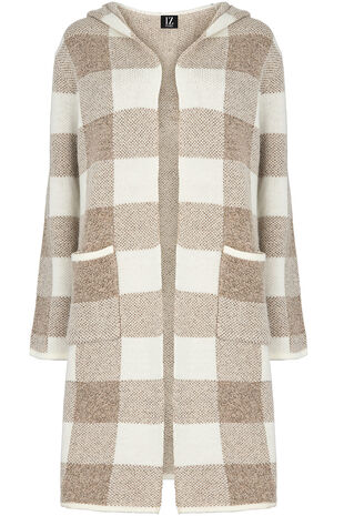 Izabel Checked Hooded Cardigan