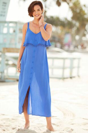 Plain Button Through Maxi Dress