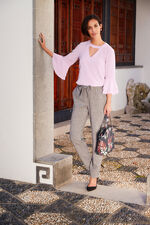 Fluted Sleeve Blouse With V Neck Detail