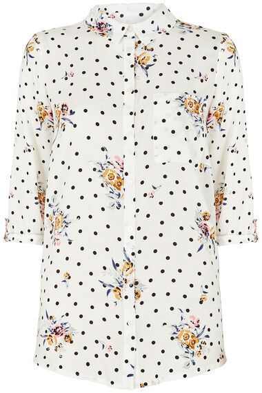 Spot And Floral Print Woven Shirt