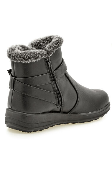 Cushion Walk Ankle Boot with Buckle and Faux Fur Trim