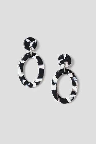 Muse Black & Whitte Oval Drop Earring