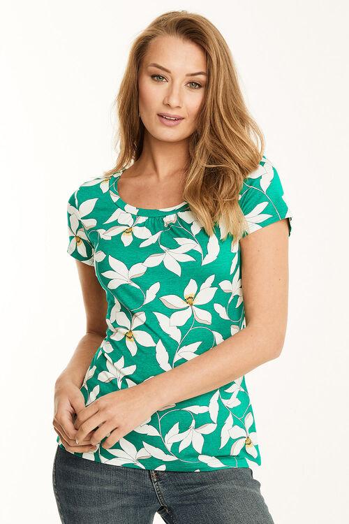 Graphic Floral Print Scoop Neck Jersey Top
