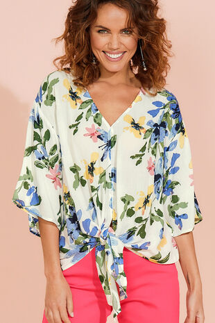 a6a40f9088a78 Floral Print Tie Front Top