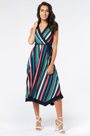 Striped Hanky Hem Wrap Dress