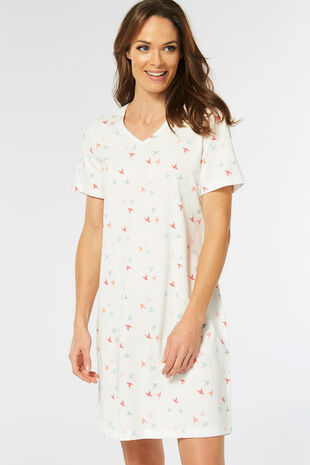 Small Bird Print Nightdress