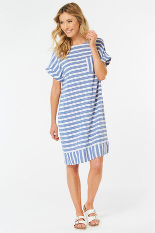 229b440f157 Striped Linen Blend Tunic Dress