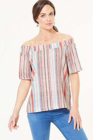 Stripe Linen Blend Bardot Top
