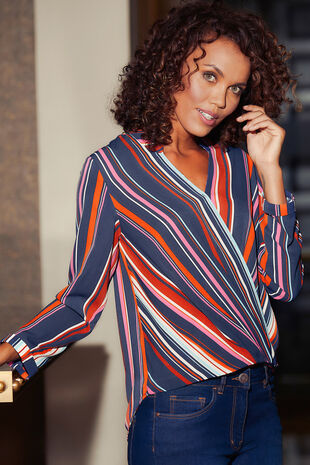 Wrap Effect Stripe Blouse